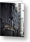 Making Out Greeting Cards - Black Alley Love Greeting Card by James Heckt