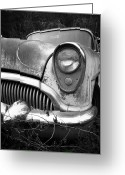 Fifties Buick Greeting Cards - Black an White Buick Greeting Card by Steve McKinzie