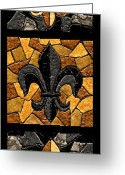 Football Painting Greeting Cards - Black and Gold Triple Fleur de Lis Greeting Card by Elaine Hodges