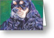 Cocker Spaniel Greeting Cards - black and tan Cocker Spaniel Greeting Card by Lee Ann Shepard