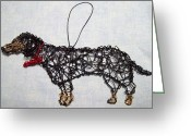 Music Sculpture Greeting Cards - Black And Tan Daschund Greeting Card by Charlene White