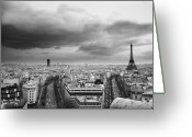 Cities Art Greeting Cards - Black And White Aerial View Of An Overcast Sky Above The Eiffel Tower Greeting Card by Stockbyte