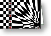 Introvert Greeting Cards - Black and White and Red Art No.107. Greeting Card by Drinka Mercep