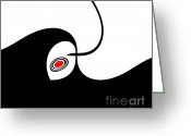 Introvert Greeting Cards - Black and White and Red No.25. Greeting Card by Drinka Mercep