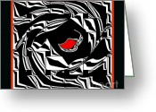 Introvert Greeting Cards - Black and White and Red No.30. Greeting Card by Drinka Mercep