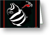 Introvert Greeting Cards - Black and White and Red No.53. Greeting Card by Drinka Mercep
