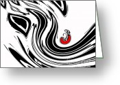 Introvert Greeting Cards - Black and White and Red No.54. Greeting Card by Drinka Mercep