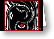 Introvert Greeting Cards - Black and White and Red No.9 Greeting Card by Drinka Mercep