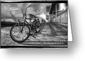 Bridge Greeting Cards Greeting Cards - Black and White Beach Bike Greeting Card by Debra and Dave Vanderlaan