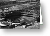 Cardinals World Series Greeting Cards - Black and White Busch Stadium Greeting Card by Melissa Goodrich