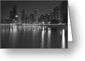 Night Scene Greeting Cards - Black and White Chicago skyline at night Greeting Card by Sven Brogren