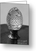 Egg Sculpture Greeting Cards - Black and White Egg Greeting Card by Michelle Powell