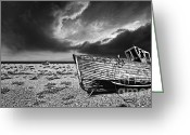 Pebbles Greeting Cards - Black And White In Dungeness Greeting Card by Meirion Matthias