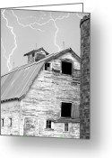 Contry Greeting Cards - Black and white Old Barn Lightning Strikes Greeting Card by James Bo Insogna