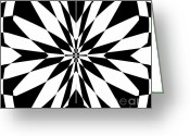 Introvert Greeting Cards - Black and White Op Art No.231. Greeting Card by Drinka Mercep
