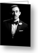 Black Tie Greeting Cards - Black And White Portrait Of Man Greeting Card by Camarena