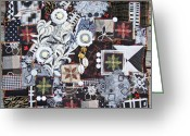 Black And White Tapestries - Textiles Greeting Cards - Black and White Quilt Greeting Card by Sue Gilliam