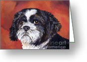 Black And White Photos Painting Greeting Cards - Black and White Shih Tzu on Red Greeting Card by Cherilynn Wood
