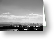 New Zealand Greeting Cards - Black And White Skyline Of Auckland, New Zealand Greeting Card by Justin Hoffmann Photography