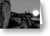 Neddick Greeting Cards - Black and White Sunrise Greeting Card by Emily Stauring