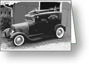 Fifties Buick Greeting Cards - Black and White Surf Rod Greeting Card by Steve McKinzie