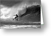 Wave Greeting Cards - Black and White Surfer Greeting Card by Paul Topp