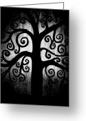 Enchanting Greeting Cards - Black and White Tree Greeting Card by Angelina Vick