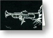 Trumpet Music Greeting Cards - Black and White Trumpet Greeting Card by Richard Roselli