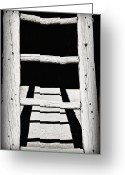 Taos Pueblo Greeting Cards - Black and White Wooden Ladder Greeting Card by Bryan Mullennix