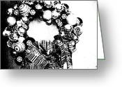 Diane Montana Jansson Greeting Cards - Black And White Wreath Greeting Card by Diane montana Jansson
