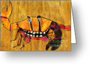 Tattoo Pastels Greeting Cards - bLAck aRm cRAb Greeting Card by Simon Shepherd