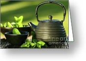 Asia Greeting Cards - Black asian teapot with mint tea Greeting Card by Sandra Cunningham
