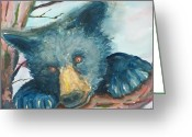 Black Bear Climbing Tree Greeting Cards - Black Bear  Greeting Card by Barbara McGeachen