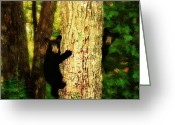 Black Bear Climbing Tree Greeting Cards - Black Bear Cubs Greeting Card by Gray  Artus