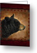Lodge Greeting Cards - Black Bear Lodge Greeting Card by JQ Licensing