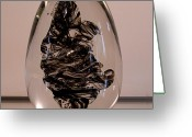 Sculpture Glass Glass Art Greeting Cards - Black Beauty  BE2 Greeting Card by David Patterson