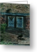 Symbolic Waiting Greeting Cards - Black Birds Sitting on Roof by Window Greeting Card by Jill Battaglia