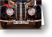 Bmw Classic Car Greeting Cards - Black BMW Grill Greeting Card by Lauri Novak