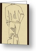 Swag Drawings Greeting Cards - Black Boy Standing on Table Greeting Card by Sheri Parris