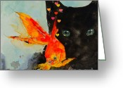 Feline Painting Greeting Cards - Black Cat and the Goldfish Greeting Card by Paul Lovering