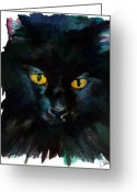 Kitty Greeting Cards - Black Cat Greeting Card by Christy  Freeman