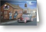Banjo Greeting Cards - Black Cat Juke Joint Greeting Card by Stuart Swartz