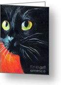 Poster From Greeting Cards - Black cat painting portrait Greeting Card by Svetlana Novikova
