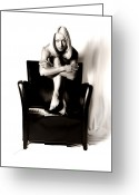 Arms Folded Greeting Cards - Black Chair 2 Greeting Card by Sleepy Weasel