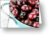 Utensil Greeting Cards - Black Cherries Greeting Card by Stephanie Frey
