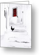 Red Door Greeting Cards - Black Chicken Patmos Greeting Card by Andy Frasheski