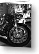 V Twin Greeting Cards - Black Chrome Greeting Card by Peter Chilelli