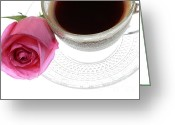 Bittersweet Photo Greeting Cards - Black Coffee Pink Rose Greeting Card by Charline Xia