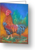 Dark Brown Eggs Greeting Cards - Black Copper Maran Rooster Greeting Card by Yvonne Johnstone