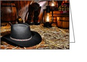 Lit Greeting Cards - Black Cowboy Hat in an Old Barn Greeting Card by Olivier Le Queinec